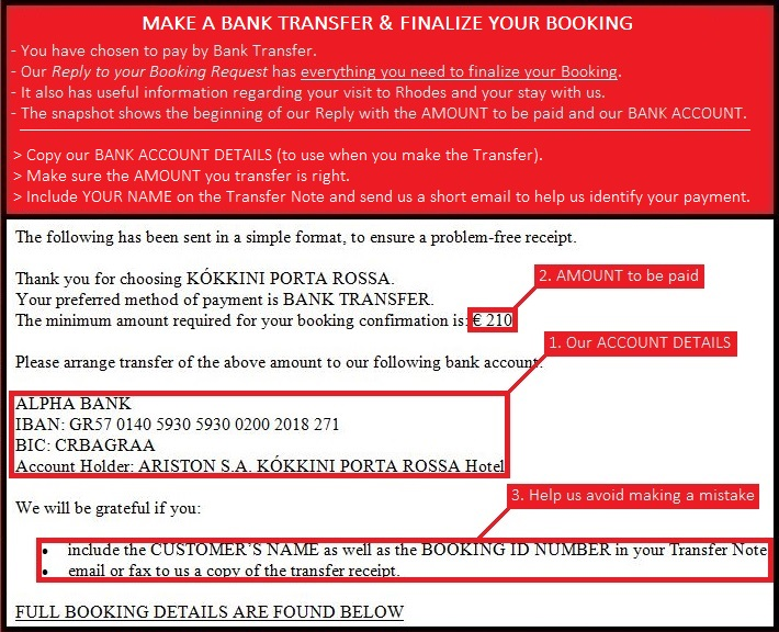 make a bank transfer to finalize your booking